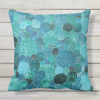 Luxury Glitter Dots and Circles - Cool Aqua Outdoor Pillow