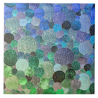 Luxury Glitter Dots and Circles - Fresh Aqua Tile