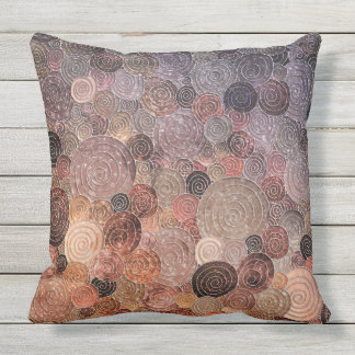 Luxury Glitter Dots and Circles - Warm Brown Outdoor Pillow