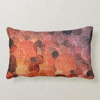 Luxury Glitter Dots and Circles - Warm Orange Lumbar Pillow