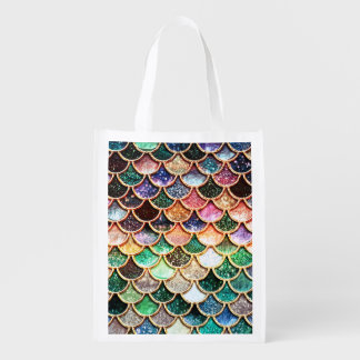 Luxury Glitter Mermaid Scales - Multicolor Reusable Grocery Bag