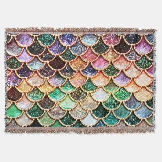 Luxury Glitter Mermaid Scales - Multicolor Throw Blanket