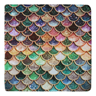 Luxury Glitter Mermaid Scales - Multicolor Trivet
