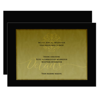 Luxury gold black elegant wedding guest details card