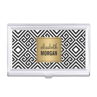 Luxury Gold Black White Abstract Geometric Pattern Business Card Holder