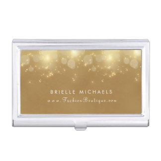 Luxury Gold Bokeh Faux Sparkle Boutique With Name Business Card Holder