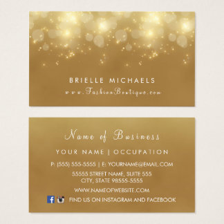 Luxury Gold Bokeh Glamour Boutique Business Card
