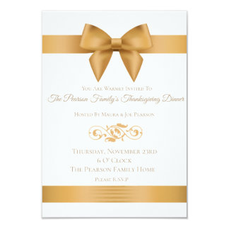 Luxury Gold Bow Thanksgiving Dinner Invitations