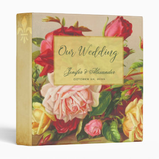 Luxury gold chic vintage roses elegant wedding vinyl binder