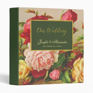 Luxury gold chic vintage roses green wedding 3 ring binders