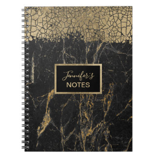 Luxury Gold Crackle Elegant Black Marble with Name Notebook