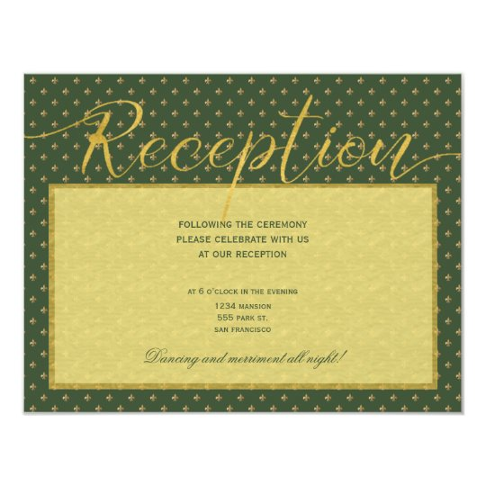 Luxury gold elegant green fleurdelis reception card