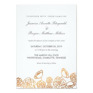 Luxury Gold Foil Floral Modern Wedding Card