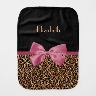 Luxury Gold Fur Leopard Print Mauve Bow Baby Name Burp Cloth