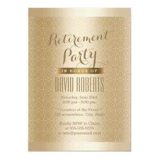 "Luxury Gold Geo Pattern Retirement Party 5"" X 7"" Invitation Card"