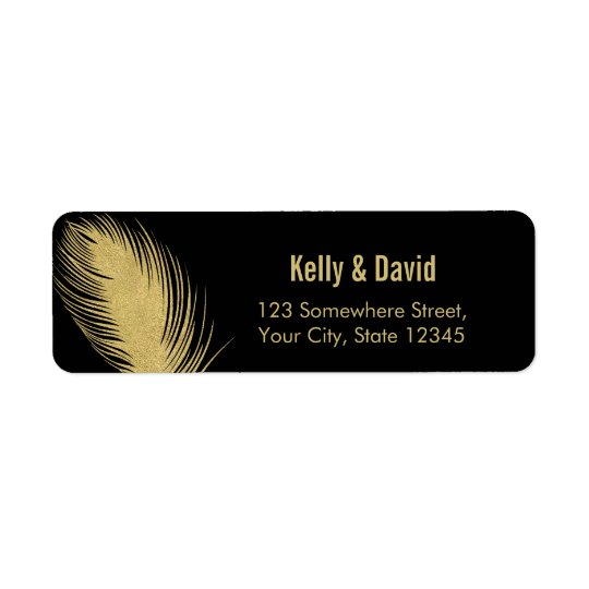 Luxury Gold Glitter Peacock Feather Modern Wedding
