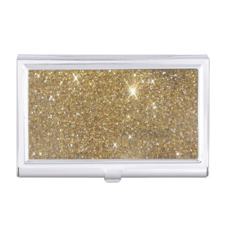 Luxury Gold Glitter - Printed Image Business Card Holder