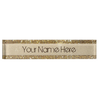 Luxury Gold Glitter - Printed Image Nameplate