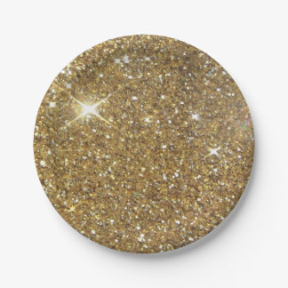 Luxury Gold Glitter - Printed Image Paper Plate