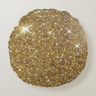 Luxury Gold Glitter - Printed Image Round Pillow