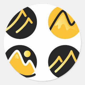 Luxury gold hills on black classic round sticker