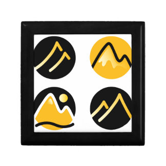 Luxury gold hills on black gift box