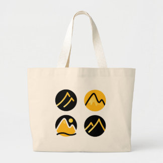 Luxury gold hills on black large tote bag
