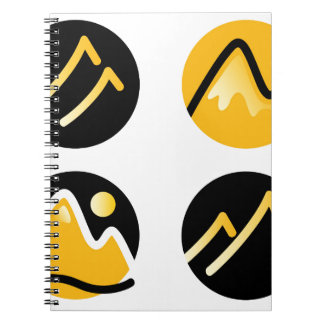 Luxury gold hills on black notebooks