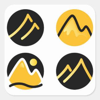 Luxury gold hills on black square sticker