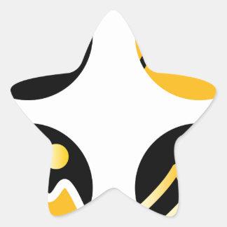 Luxury gold hills on black star sticker