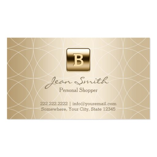 Luxury Gold Monogram Personal Shopper Business Card Template