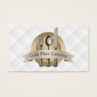 Luxury Gold Plate Chef Catering Events Restaurant Business Card