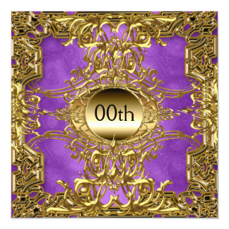 Luxury Gold Purple Any Birthday Party Card