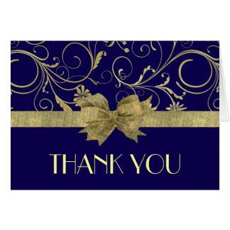 Luxury Gold Ribbon Damask Blue Thank you card