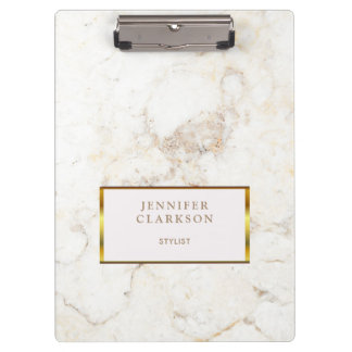 Luxury gold & white marble stone personal clipboard