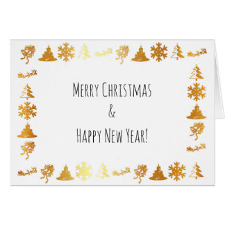 Luxury golden icons on white X-mas greeting card
