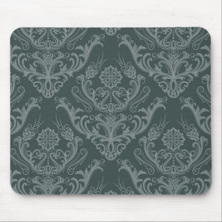 Luxury green floral damask wallpaper mouse pad