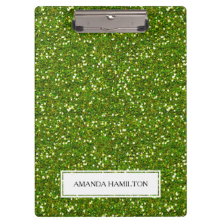 Luxury Green Greenery Glitter add your name Clipboard