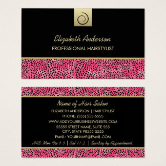 Luxury Hairstylist Pink Cheetah Print Hair Salon Business Card