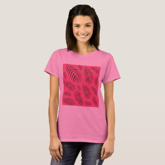 LUXURY HAND DRAWN GIRLS TSHIRT WITH PALMS / PINK