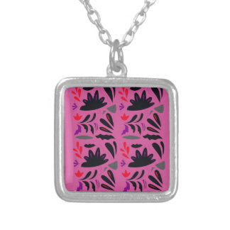 LUXURY HANDDRAWN LACE : PINK ETHNO SUMMER EDITION SILVER PLATED NECKLACE
