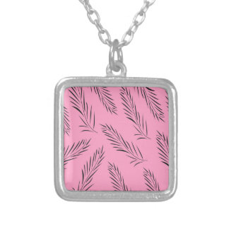 Luxury handdrawn palms / black with pink silver plated necklace
