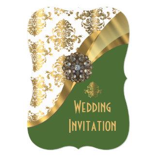 "Luxury Irish green and gold damask wedding 5"" X 7"" Invitation Card"