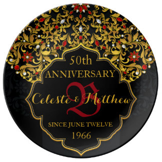 Luxury Jeweled Black Gold Red Wedding Anniversary Porcelain Plates