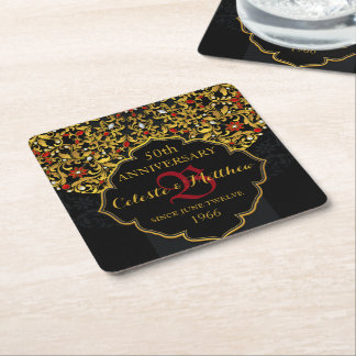 Luxury Jeweled Black Gold Red Wedding Anniversary Square Paper Coaster