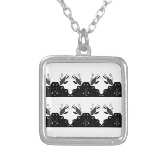 LUXURY LACE VINTAGE BLACK SILVER PLATED NECKLACE