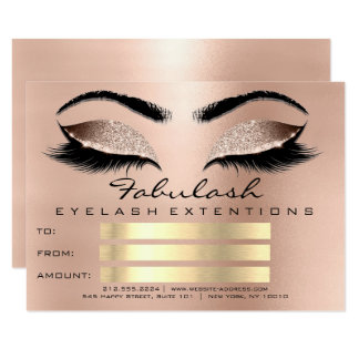 Luxury Lashes Pink Browns Makeup Certificate Gift Card