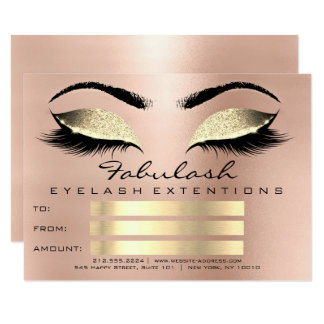 Luxury Lashes Pink Gold Makeup Certificate Gift Card