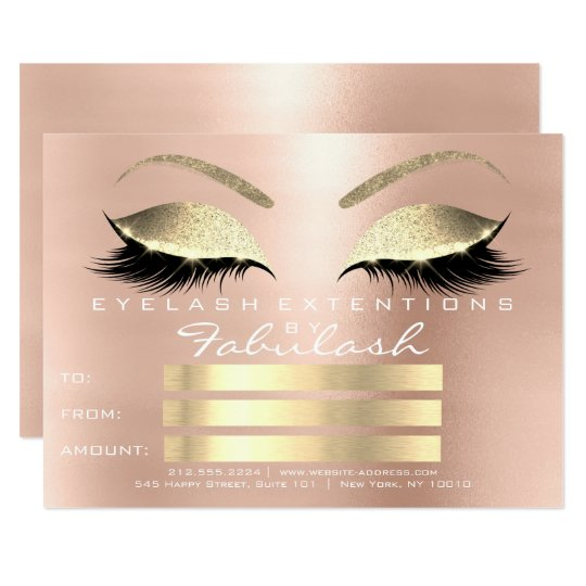 Luxury Lashes Rose Gold Makeup Certificate Gift Card