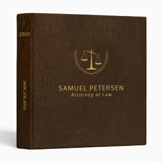 Luxury lawyer office brown leather look and gold 3 ring binders